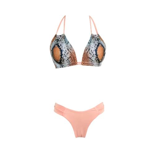 Bikiní de las mujeres traje de baño de la serpiente patrón de la piel del cuello del halter Copas ajustables de dos piezas traje de baño rosado