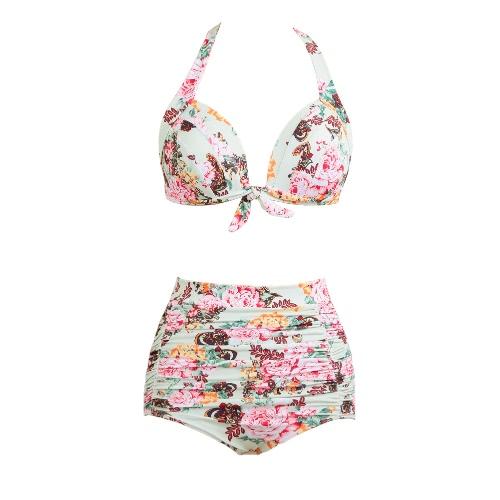 High Waist Swimsuit Women Bikini Set Push Up Swimwear Padded Beach Wear Bathing Suit Floral Print