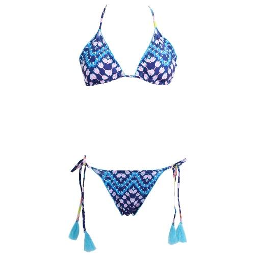 Sexy Women Bikini Set Swimwear Swimsuit Floral Print Tie Halter Neck Tassel Padded Two Piece Bathing Suit Beachwear