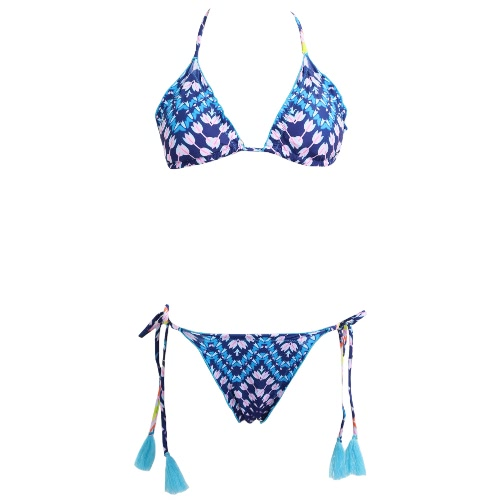 Sexy Bikini Mulheres Set Swimwear Swimsuit Floral Imprimir Tie Top Tassel acolchoado Dois Beachwear Pedaço maiô