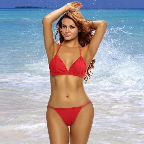 Las mujeres atractivas del bikini Conjunto tanga correas de hombro ajustable de cintura baja inalámbrica traje de baño rojo
