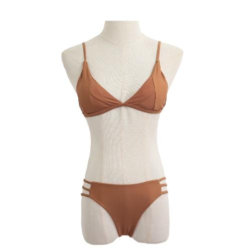 Las mujeres atractivas del bikini sólido conjunto Parches de Color acolchado vendaje de la tapa inferior del traje de baño Traje de baño de la playa del traje de baño de color caqui