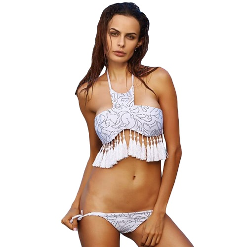 Sexy Women Bikini Set Tassels Fringed Front High Neck Bandage Halter Beach Swimwear Swimsuit Bathing Suit White