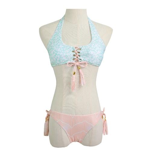 Las mujeres Sistema atractivo del bikiní de las borlas con flecos con cordones de vendaje del traje de baño del traje de baño de la playa Impreso traje de baño rosado