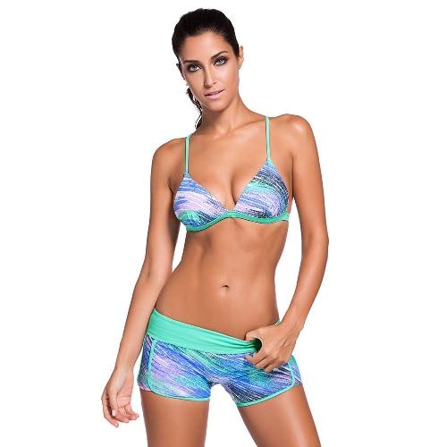 Bikiní de las mujeres del bloque del color acolchado Pus Hasta triangular espalda deportiva bajo la cintura atractiva del traje de baño de dos piezas