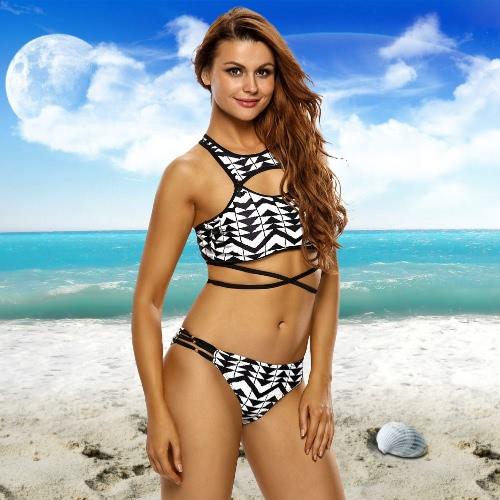 New Sexy Mulheres Imprimir Geometric Bikini Set recorte de tiras de alta Neck Beach cintura baixa Maiô Swimwear Preto