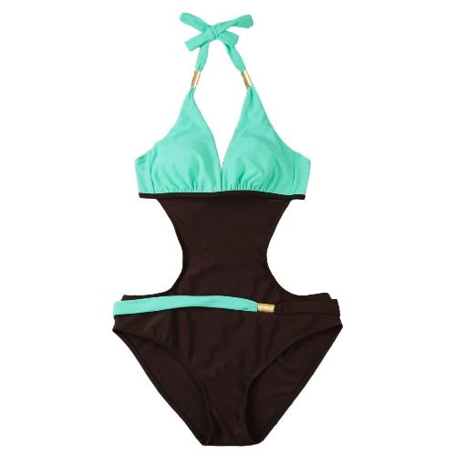 Nuevas mujeres atractivas del traje de baño de una sola pieza del contraste del color del bloque cabestro sin respaldo playa de los trajes traje de baño