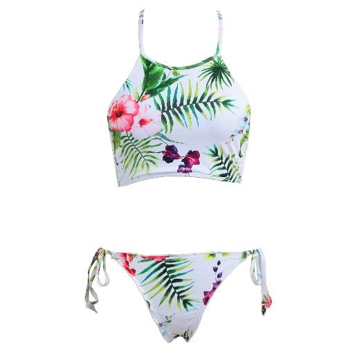 Bikini Mulheres Set Flor Imprimir Tanque Push Up Swimsuit cintura baixa acolchoado Swimwear Verde