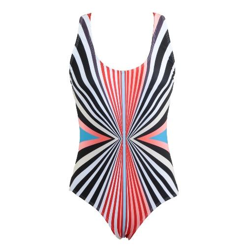 Frauen Badeanzug bunte gestreifte Print Gepolsterter Push-up Backless Crossover Sexy Retro Swimwear Schwarz