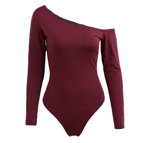 Sexy Mulheres Bodycon Bodysuit de um ombro manga comprida calças justas Stretchy Top Macacão macacãozinho maiô