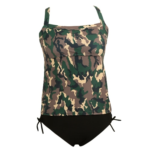 Sexy Frauen-Bikini-gesetzte Badebekleidung Badeanzug Tarnaufdruck Spaghetti-Bügel-Tankini zwei Stück Badeanzug Bademode
