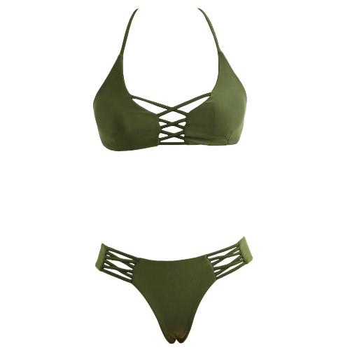 Atractivo de las mujeres de baño bikini traje de baño determinado de cruce de la correa acolchada fotografica de dos piezas traje de baño verde del ejército / Borgoña