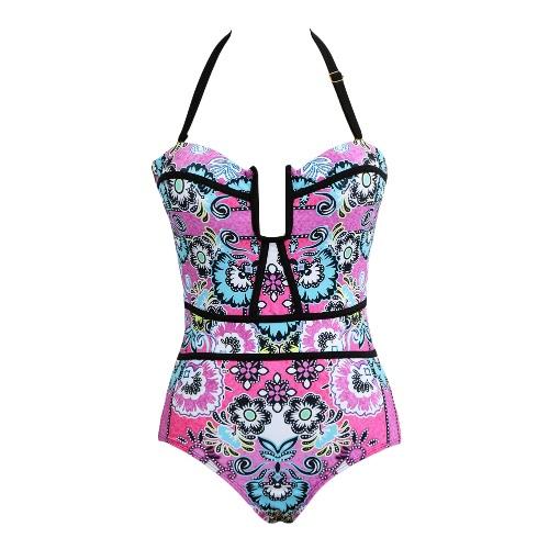 Mulheres One Piece Swimsuit Floral Imprimir Swimwear Cut Out Contraste Halter Push Up Maiô Beachwear Monokini