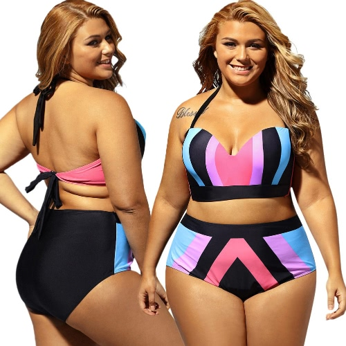 Sexy Women Bikini Set Push Up Swimsuit Stripe Print Halter Neck Self-tie Padded Swimwear Bathing Suit Purple, TOMTOP  - buy with discount