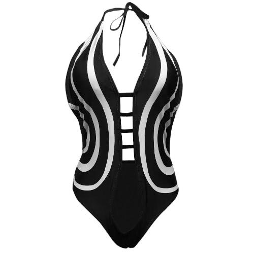 Mulheres Sexy One Piece Swimsuit Vintage impressão Maiô Bodysuit Swimwear Beach Wear Monokini preto