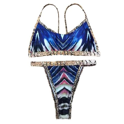 Frauen-Bikini-Set bunte gestreifte Druck Padded Pus Up Brazilian Vintage sexy Zweiteiler Bademode königlichblau