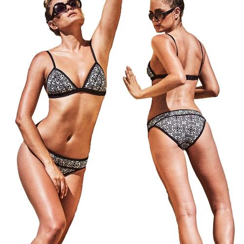 Women Bikini Set Contrast Print Padded Pus Up Low Waist Brazilian Retro Sexy Two Piece Swimwear Black, TOMTOP  - buy with discount