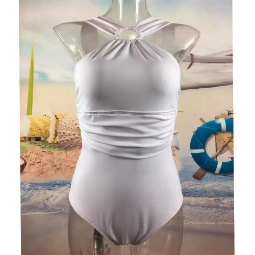 Nuevas mujeres atractivas de una sola pieza del traje de baño cabestro Cruz acanalada acolchado playa de los trajes de baño blanco