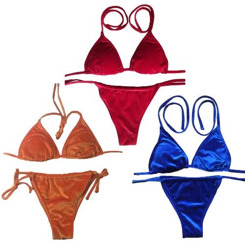 Sexy Women Velvet Bikini Set Self-tie Halter Bandage Thong Solid Swimwear Beach Swimsuit Bathing Suit Blue/Red/Orange, TOMTOP  - buy with discount