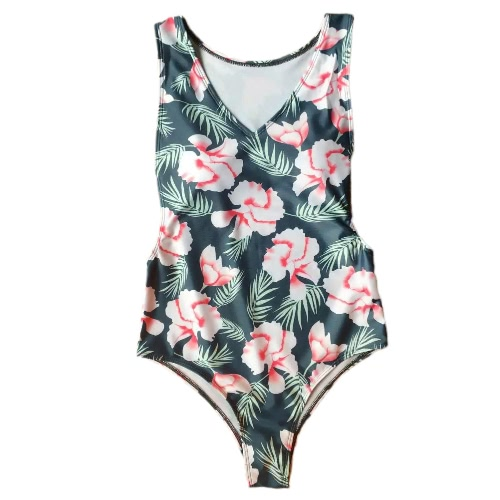 Mulheres Sexy One Piece Swimsuits cópia floral acolchoado Swimwear Bikini Monokini Verde