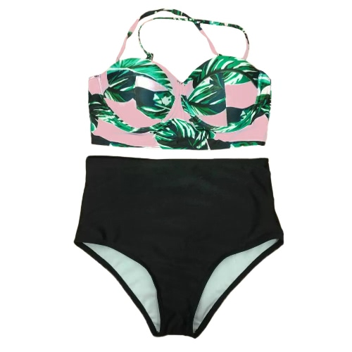 Sexy Bikini Mulheres Set Spaghetti Strap Cruz Backless Maiô Swimwear Trajes de banho de duas peças Black1 / Black2