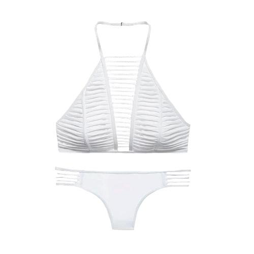 Atractivo bikiní de las mujeres sin respaldo Recortable traje de baño traje de baño de los trajes de baño de dos piezas Negro / Blanco / Rojo