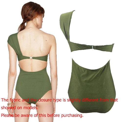 Women One Piece Swimwear One Shoulder Padded Front Twist Side Ruching Bandage High Waist Sexy Retro Maillot, TOMTOP  - buy with discount