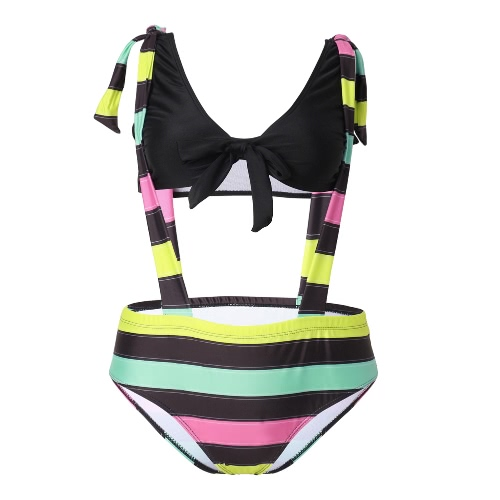 Kobiety Bikini Set Plus Size Floral Stripe Print Padded Push up Bow Tie Własna wysokim stanem Big Size kąpielowe Czarny / Burgundy