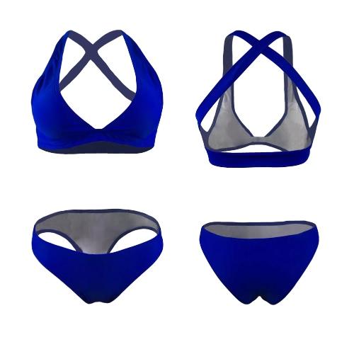 Sexy Frauen-Bikini-gesetzte Badebekleidung Badeanzug Kreuz-Rück Padded Kurz zwei Stück Badeanzug Bademode Blau