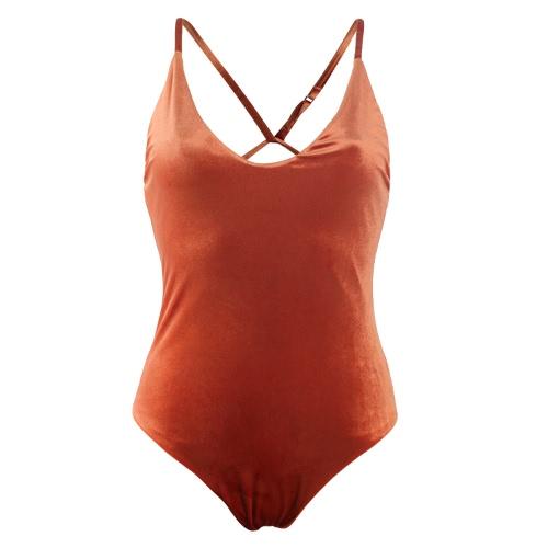 Las nuevas mujeres del terciopelo de una pieza del traje de baño de la Cruz Correa traje de baño ropa de playa sin respaldo Monokini