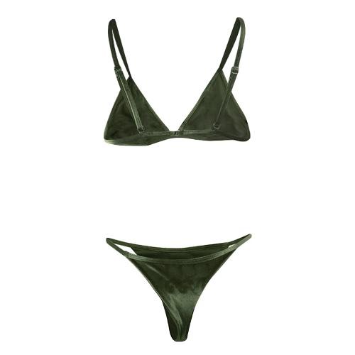 Sexy Women Velvet Bikini Set Swimwear Swimsuit Adjustable Strap Solid Two Piece Bathing Suit Beachwear, TOMTOP  - buy with discount