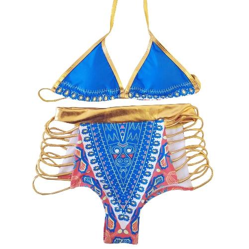 New Sexy Women Bikini Set Halter Neck Gravura geométrica High Waist Cutter Swimwear Duas peças