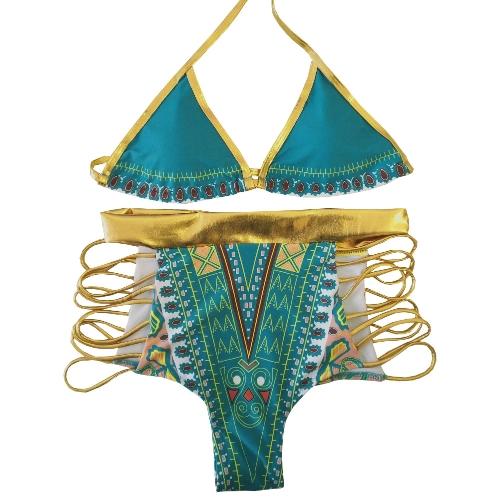 Nuevas mujeres atractivas Bikini Set Halter Neck estampado geométrico cintura alta recorte bañador dos piezas