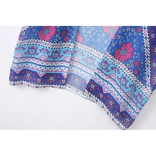 Women Kimono Cardigan Summer Chiffon Blouse Boho Floral Printed Long Loose Beach Cover Up Blue