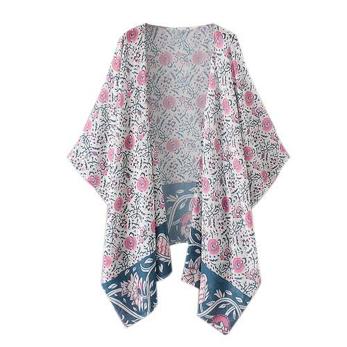 Gasa de las mujeres del verano de la blusa kimono floral de Boho larga suelta Cardigan playa cubre para arriba Rosa