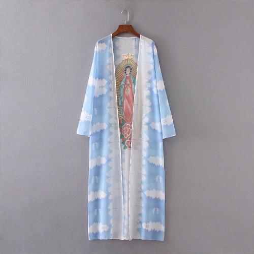Mujeres Guadalupe kimono de verano de la gasa de la rebeca blusa de la impresión larga suelta playa cubre para arriba Azul