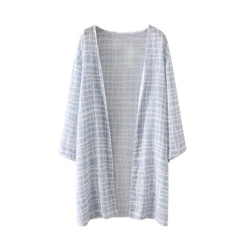 Nowej kobiet Kimono Plaid Print Luźny Sweter Bluzka wierzchnia kostiumy bikini Cover Up Biały