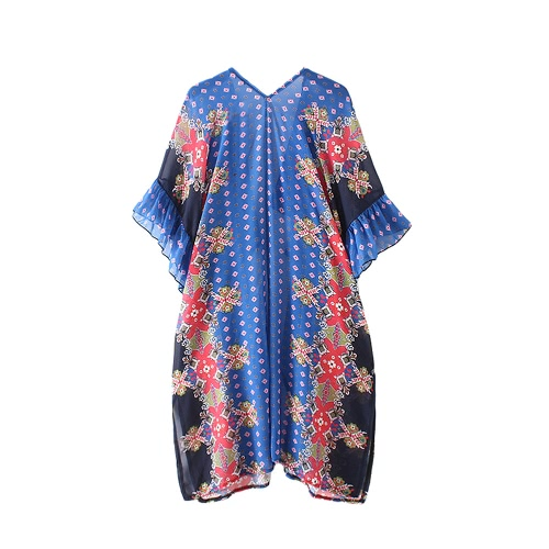 New Women Chiffon Kimono Cardigan Floral Geometric Print Boho Loose Outerwear Beachwear Bikini Cover Up Blue