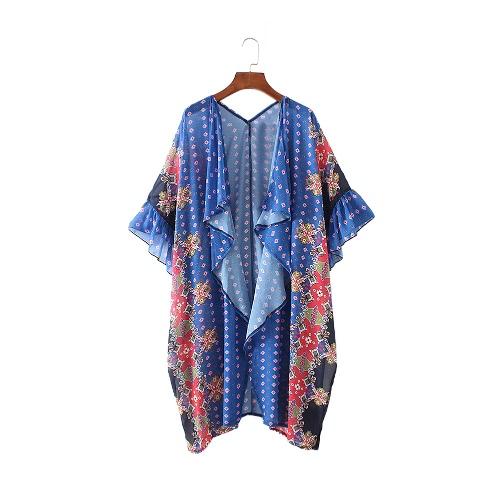 Новый женский шифон Кимоно Кардиган Цветочный Геометрическая печати Boho Сыпучие Верхняя одежда Пляжная Бикини Cover Up Синий
