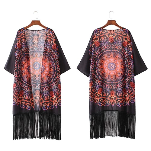Vintage Women Chiffon Kimono Cardigan Geometric Print Fringed Tassels Loose Boho Outerwear Beach Cover Up Black