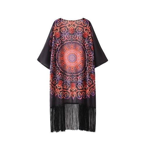 Vintage estampado geométrico gasa de las mujeres del kimono de la rebeca de las borlas con flecos suelta prendas de vestir exteriores de Boho de la playa cubre para arriba Negro