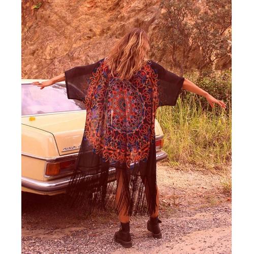 Купить Chiffon Geometric Print Fringe Loose Long Kimono