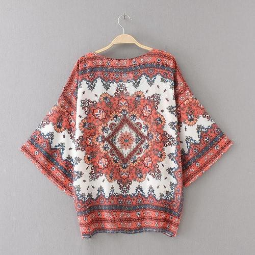 Mulheres Moda Praia Cover Up Chiffon Kimono Floral Imprimir Frente Abrir solto Cardigan Laranja