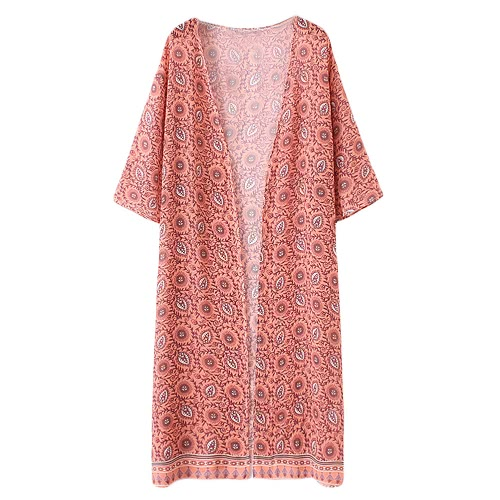 Fashion Women Long Beach Cover Up Chiffon Kimono Allover Print Front Open Loose Long Thin Coat Orange