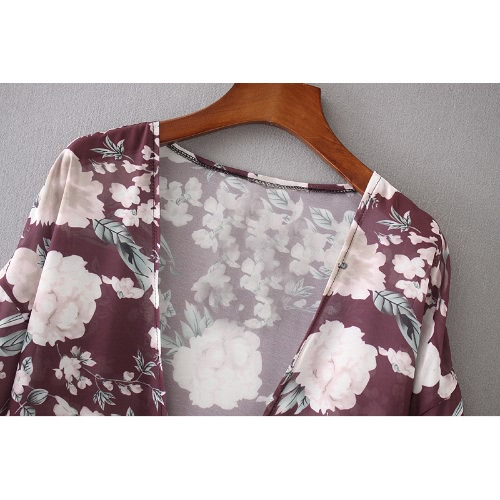 Fashion Women Long Beach Cover Up Chiffon Kimono Floral Print Front Open Loose Long Thin Coat Purple