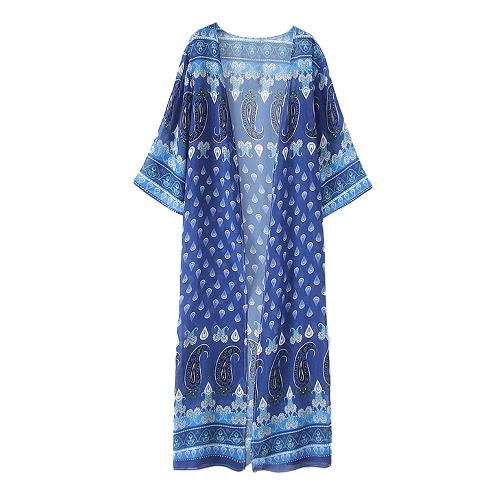 Women Long Print Chiffon Beach Cover Ups Split Hem Open Front Three Quarter Sleeves Bikini Cover Kimono Beachwear