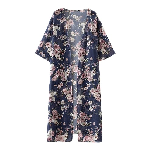 New Women Kimono Cardigan Beach Cover Up Floral Print Chiffon Boho Long Loose Casual Blouse Top Beachwear Dark Blue
