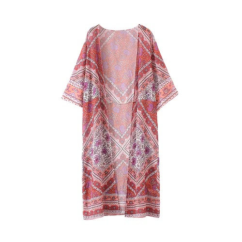 New Women Kimono Cardigan Beach Cover Up Floral Print Chiffon Boho Long Loose Casual Blouse Top Beachwear Red