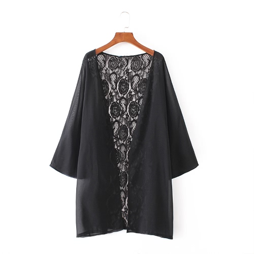 Las nuevas mujeres del kimono de la rebeca de la playa cubre para arriba la gasa escarpada del cordón flojo ocasional del top de la blusa de trajes de baño Negro