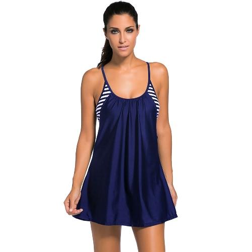 Kobiety One Piece Swimsuit Flowing Swim Sukienka warstwami Tankini Top Plus Rozmiar Swimwear bikini kostium kąpielowy